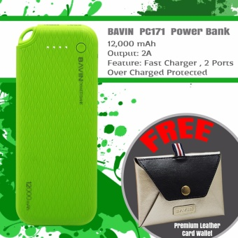 BAVIN PC171 12000mAh Quick Charging Power Bank (Green) + FreePremium Leather Card wallet