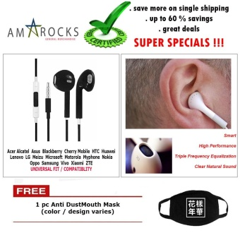 Black Stereo Earphone Smart Power Equalization with Mic for SonyPhone Model (All Model Compatible)