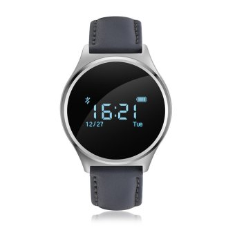 Blood Pressure Smart Watch w/ Heart Rate Monitor-LeatherStrap(Silver) - intl