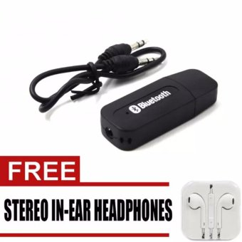 BT-163 Wireless Bluetooth Music Receiver Dongle Adapter (Black)with free Stereo In-Ear Headphone (White)
