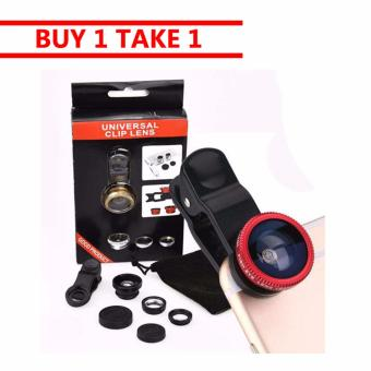 BUY-1-TAKE-1 3 in 1 Universal Clip-On Wide Angle Fish Eye Lens +Macro Lens