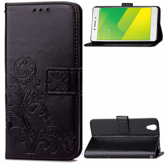 BYT Flower Debossed Leather Flip Cover Case for Oppo A37 (Black)