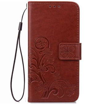 BYT Flower Debossed Leather Flip Cover Case for Samsung Galaxy S7 Edge (Brown)