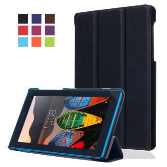 BYT KST Pattern Solid Color Tablet Leather Flip Cover Case with Stand Function for Lenovo Tab 3 7 Essential TB-710F/I (Black)