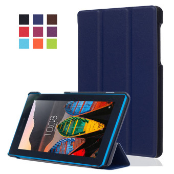 BYT KST Pattern Solid Color Tablet Leather Flip Cover Case with Stand Function for Lenovo Tab 3 7 Essential TB-710F/I (Blue)