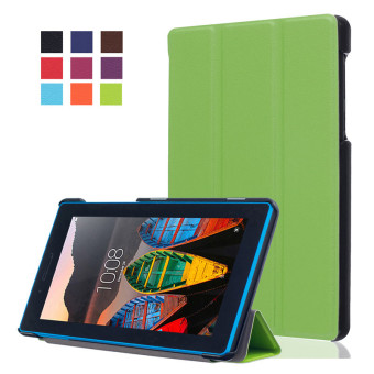 BYT KST Pattern Solid Color Tablet Leather Flip Cover Case with Stand Function for Lenovo Tab 3 7 Essential TB-710F/I (Green)