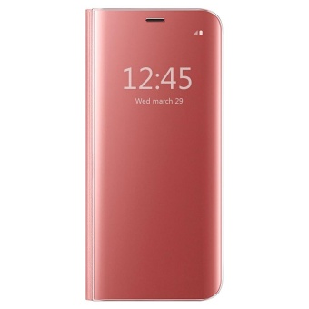 Clear View Flip Stand Case Cover For Samsung Galaxy S7 Edge Rose Gold - intl