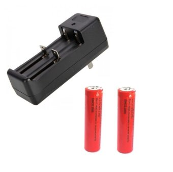 Combo Set Dual Slot Li-Ion Universal Battery Charger #0285 with 2 Pcs 18650 Rechargeable Batteries #0252