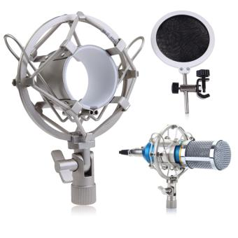 Condenser Mic Microphone Shock Mount With Integrated Pop Filter Silver - intl