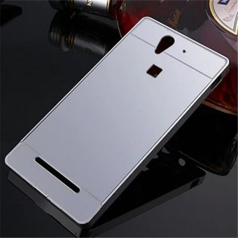 Elaike For Sony Xperia C3 2 in 1 Luxury Aluminum Metal Mirror PCPhone Cover Case (Silver) - intl