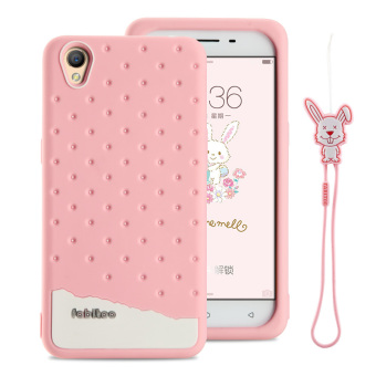 Fabitoo Cute ice cream silicone back cover case For OPPO A37 With lanyard -Pink Color