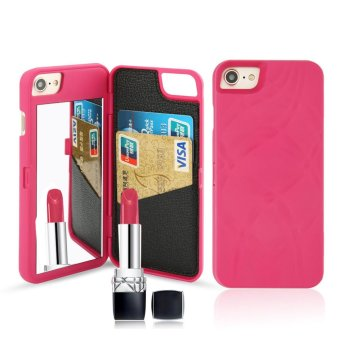 Fashion Lady Mirror Wallet Case For iphone 6 6s Leather Flip Makeup Mirror Phone Cases Card Slot Holder Stand - intl