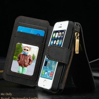 Flip Cover Leather Wallet Phone Case for Apple iPhone 5/5S/SE WithCard Holder (Black) - intl