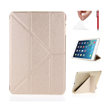 For Apple iPad Mini 1 2 3 PU Leather Flip Folio Case Cover SkinProtector with Multi Angle Stand Function (Champagne)