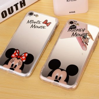 For iPhone Mirror case New Fashion Mickey Minnie Mouse TPU softMobile Phone Cases Cover For iPhone 7 plus 5.5 Inch - intl