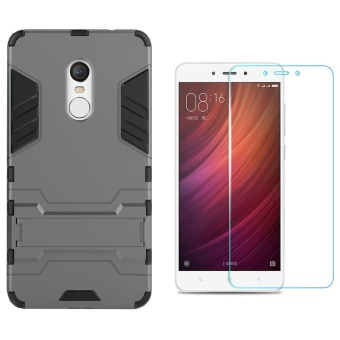 For Redmi Note4X(Snapdragon Version) Amor Rugged ShockproofBuilt-in Stand cover Case With HD Anti Blue-Ray Eye Tempered Glass- intl