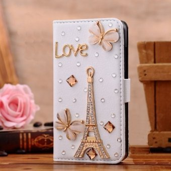 For Sony Xperia Z L36h C6603 Moonmini Luxury Bling CrystalRhinestone Flip Case Cover - Eiffel Tower Design - intl
