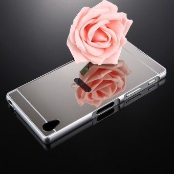 For Sony Xperia Z5 Premium Mirror Push Pull Back Shell Cover + Electroplating Bumper Frame Protective