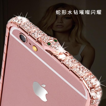 Free Gift! Luxury Bling Snake Diamond Inlay Metal Rhinestone Bumperfashional phone Case for iPhone 5 6 6s 7 Plus Crystal Frame - intl