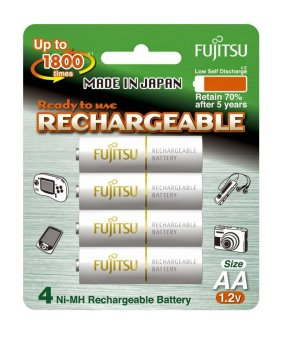 Fujitsu Ready-to-Use AA Rechargeable Batteries (White) Set of 4