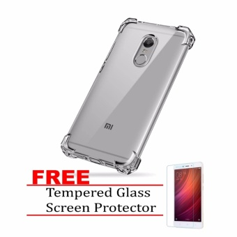 German Import Shockproof Silicone Clear Case For Xiaomi Redmi Note4X with FREE Tempered Glass Screen Protector (Clear)