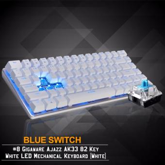 Gigaware Ajazz AK33 #8 82 Key Blue LED Mechanical Keyboard (White)(Blue Switch) Price Philippines
