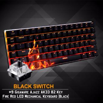 Gigaware Ajazz AK33 #9 82 Key Fire Red LED Mechanical Keyboard(Black) (Black Switch) Price Philippines