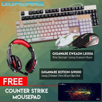 Gigaware EWEADN LK006 Metal Backlight Gaming Keyboard Mouse +Gigaware Kotion G9000 Gaming LED Headset 3.5mm USB port (Black/Red)with free Counter strike mousepad Price Philippines