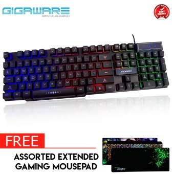 Gigaware FOREV FV-Q1 3Color Backlight LED Lights Mechanical Gaming Keyboard with FREE Assorted Extended Mousepad