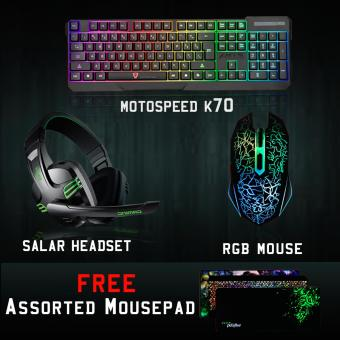 Gigaware K70 Gaming Combo, Gigaware Mouse and Salar Headset withFree Assorted Mousepad Price Philippines