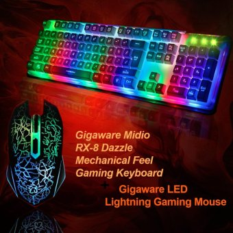 Gigaware Midio RX-8 Dazzle Mechanical Feel Gaming Keyboard withGigaware LED Lightning Gaming Mouse Price Philippines