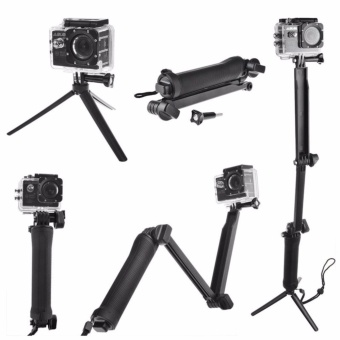 GoPro Accessories 20cm Collapsible 3 Way Monopod Mount Camera GripExtension Arm Tripod Stand for Gopro Hero 4 2 3 3+ 2 1 SJ4000