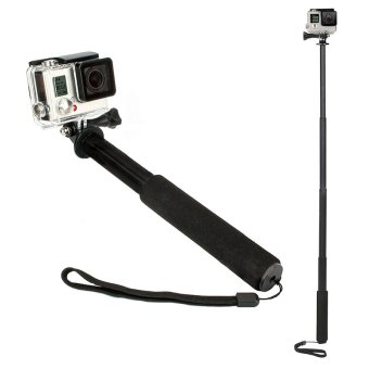 Gracefulvara GoPro Monopod Pole Mount Handle Ski Snow Selfie Telescopic Go Pro Hero4 3+ 3 2 1 (Black)
