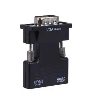 HDMI Female to VGA Male Converter with Audio Adapter Support 1080P Signal (Black) - intl