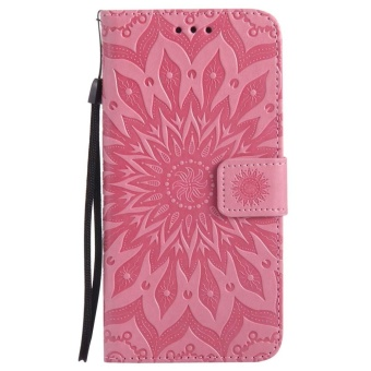 Hicase Anti-Scratch Protective Cover For Samsung Galaxy Note 5 Sunflower Style PU Leather Flip Kickstand Wallet Case Pink