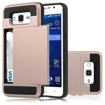 Hybrid Dual Layer Shockproof Bumper Wallet Case Cover with CardHolder for Samsung Galaxy J2 Prime - intl