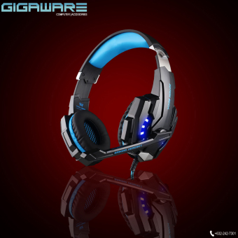 Harga Gigaware Kotion G9000 Gaming LED Headset 3.5mm USB port (Black/Blue)