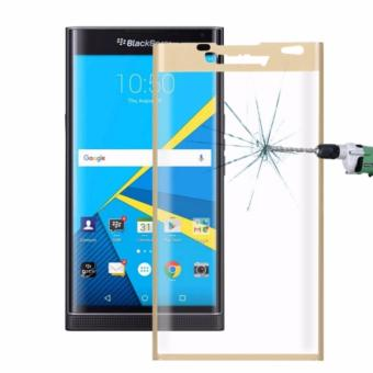 Harga For Blackberry Priv 3D Curved Silk-screen Tempered Glass Full Screen Film protector(Gold) - intl