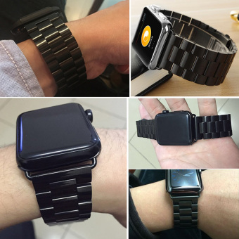 Moonar Stainless Steel Bracelet Link Watch Band Strap with Connector for Apple Watch iWatch (Black-42mm) - intl Price Philippines