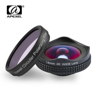 Harga (Import)APEXEL Professional 4K Wide lens with circular polarizing Filter 16mm HD super wide angle lens for iPhone &Android phone - intl
