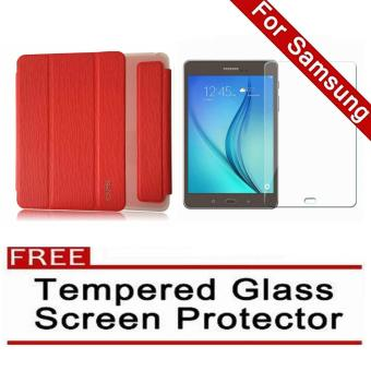 Harga iCase Slim Book Cover for Samsung Galaxy Tab A (2016) 7.0 (SM-T280 T285) (Red) with FREE Tempered Glass Screen Protector (Clear)