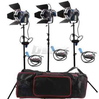 Harga 3 X 300W Studio Fresnel Tungsten with dimmer control Spotlight Video Light Kit