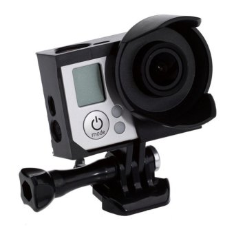 Harga OEM Hero Protective Frame with Lens Hood for Gopro Hero 4/3+/3 (Black)
