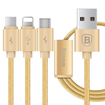 Harga Baseus Portman Series 3 in 1 Woven Style 8 Pin & USB 3.1 Type-C & Micro USB to USB 2.0 Data / Charging Cable for iPhone 6s & 6s Plus, iPhone 6 & 6 Plus, Samsung Galaxy S6 / S6 edge, Letv 1S, Huawei 6P, Length: 1.2m