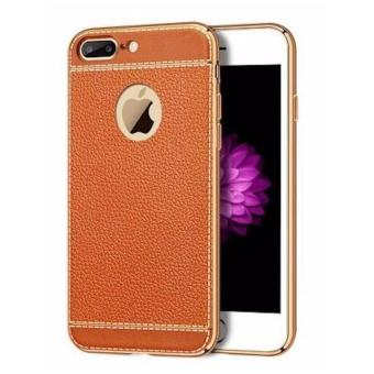 Harga Luxury Leather Grain Bling Plating Frame iPhone Case
