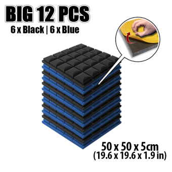 New 12pcs Black and Blue Bundle Hemisphere Grid Adhesive Acoustic Soundproofing Foam 50cm x 50cm x 5cmKK1056 Price Philippines