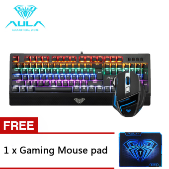 AULA OFFICIAL Wings of Liberty&Ghost Shark Gaming Multicolor Backlit Mechanical Keyboard and Mouse Combo Price Philippines