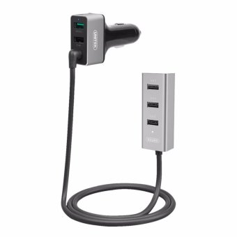 Harga Unitek 60W 5-Port USB Smart Car Charger (1-Port QC3.0 + 4-Port 2.4A)