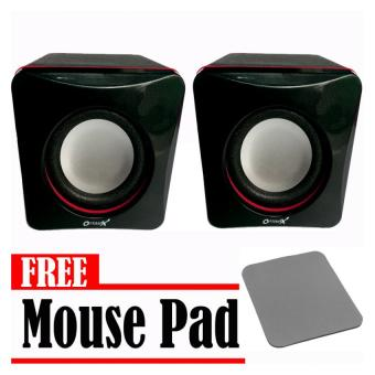 Optimax AV006 Dual Mini Speakers (Black) With Free Mouse Pad Price Philippines