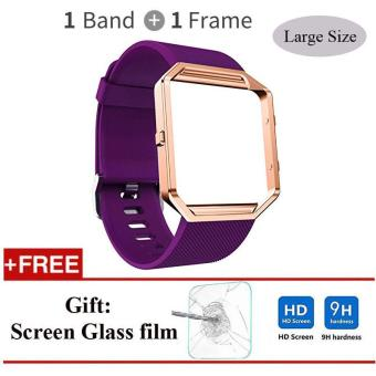 Soft Silicone Band + Stainless Steel Frame for Fitbit Blaze Watch Large Size - intl Price Philippines